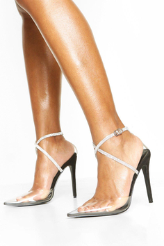 Embellished Ankle Strap Clear Courts, Negro de boohoo